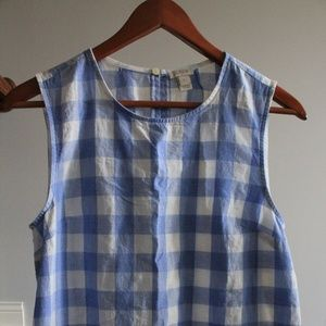 J. Crew Blue Gingham Sleeveless Blouse